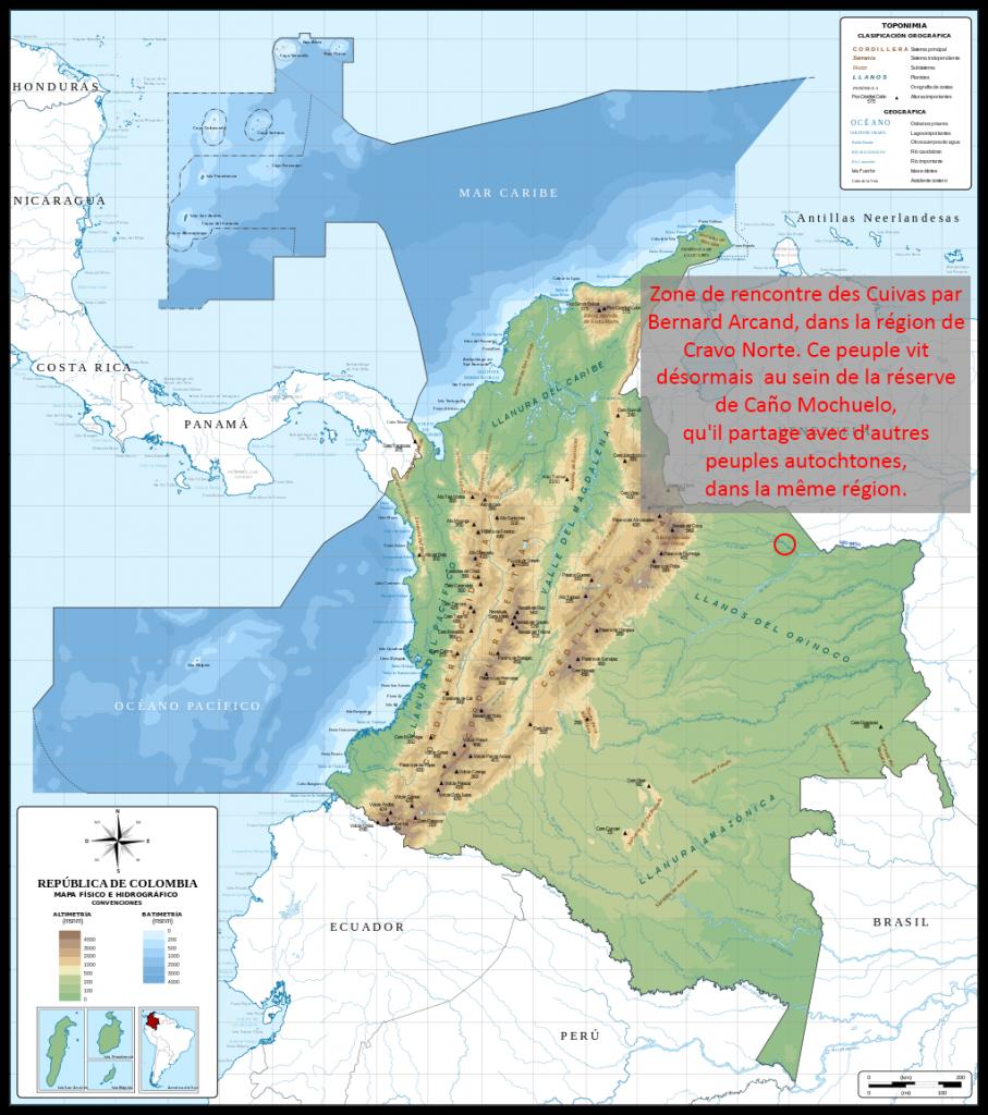 Carte de la Colombie et localisation des Cuivas